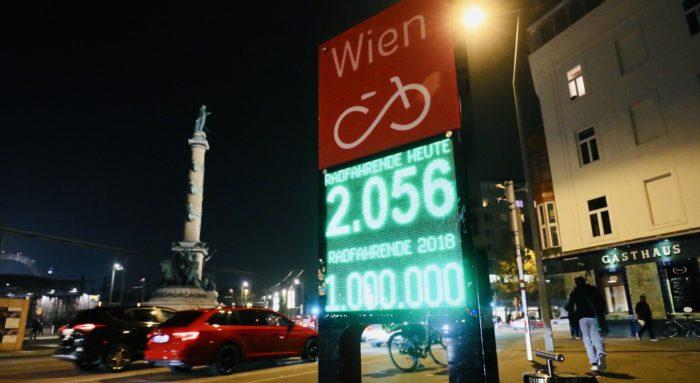 Am 9.11.2018 wurde an der automatischen Zählstelle am Praterstern der Ein-Millionste Radfahrende gezählt. Foto: Christian Fürthner