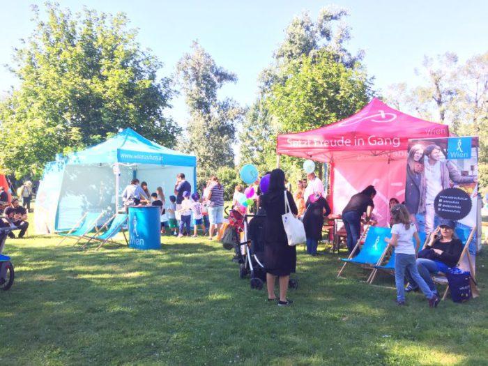 Die Kinder waren begeistert vom Stationenspiel der Mobilitätsagentur beim wienXtra Ferienspielfest im Donaupark. Foto: Anna Haberl