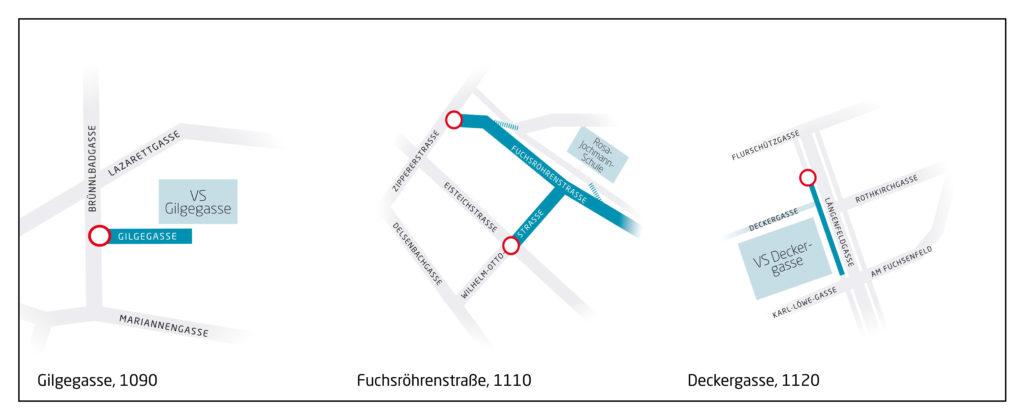 skizzierte Plandarstellung der drei Schulstraßenstandorte