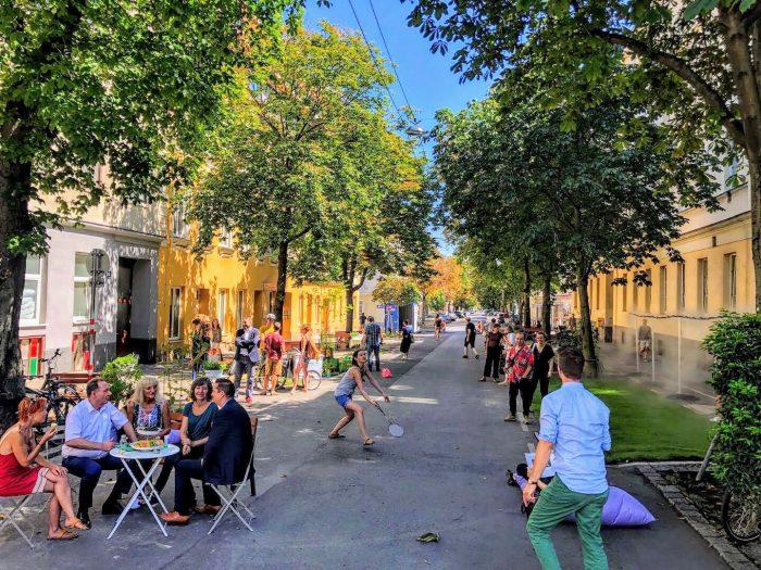Eröffnung Coole Straße in der Hasnerstraße im August 2019.