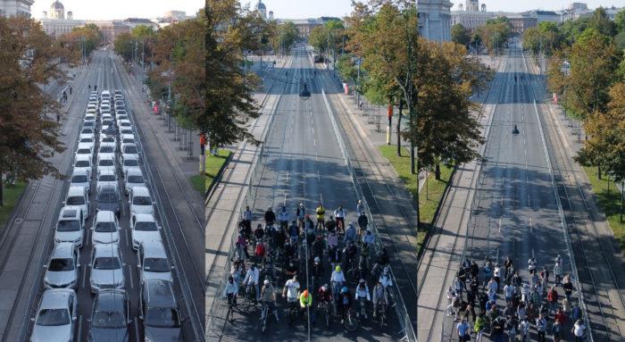 Im Rahmen der Europäischen Mobilitätswoche hat die Mobilitätsagentur am Ring dargestellt, wie viel Platz Autos, Radfahrende und Zufußgehende in der Stadt brauchen.